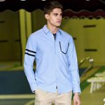 New casual shirt men clothing fashion long sleeve social shirt male quality 100% cotton grey blue