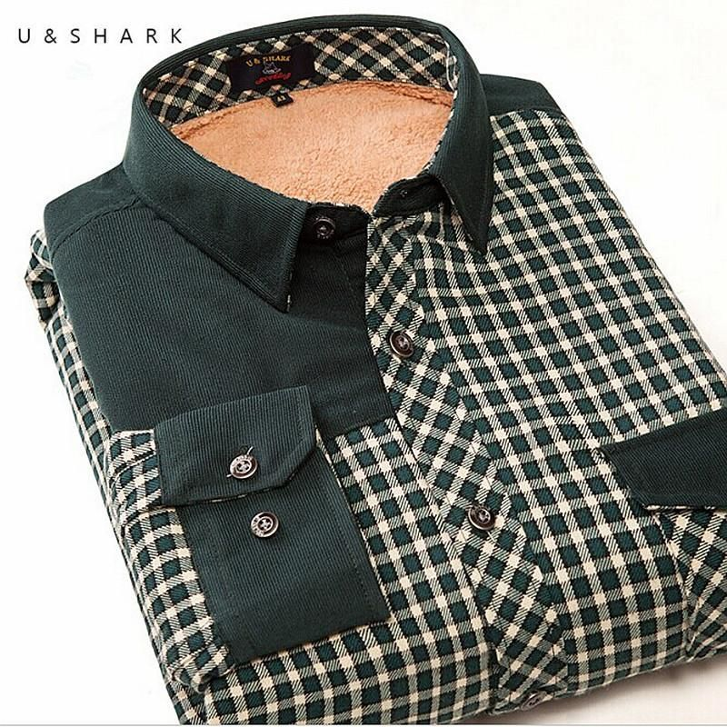 Winter Velvet Mens Dress Shirts Long Sleeve Green Plaid Flannel Fleece Casual Shirts Male Slim Fit