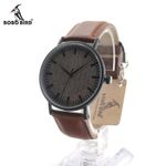 New arrival Round Vintage Watch Ebony Wood Quartz Watch With Real Leather Band Women Ceramics Watch In Gift Box