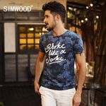 New Men T-shirt Short-sleeved O-neck Slim Fit Casual Print Letter Cotton  New Arrival