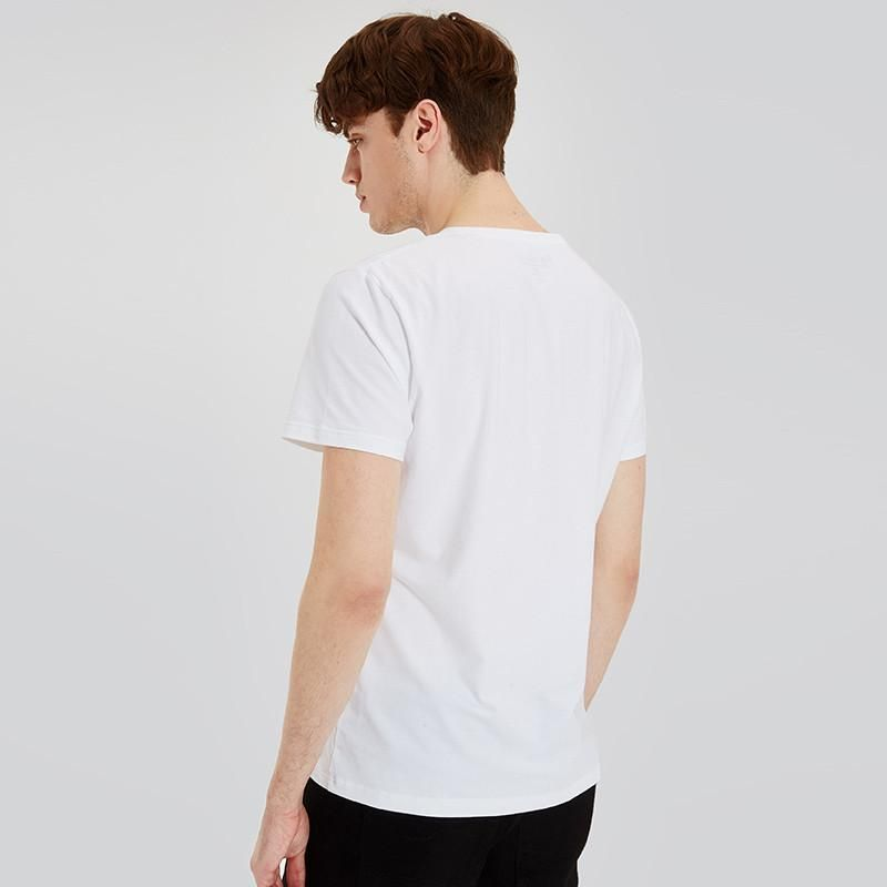 Summer New Men White T-shirts Cotton Short-sleeve T shirts Geometric Print Tops Male Casual Tops Tees