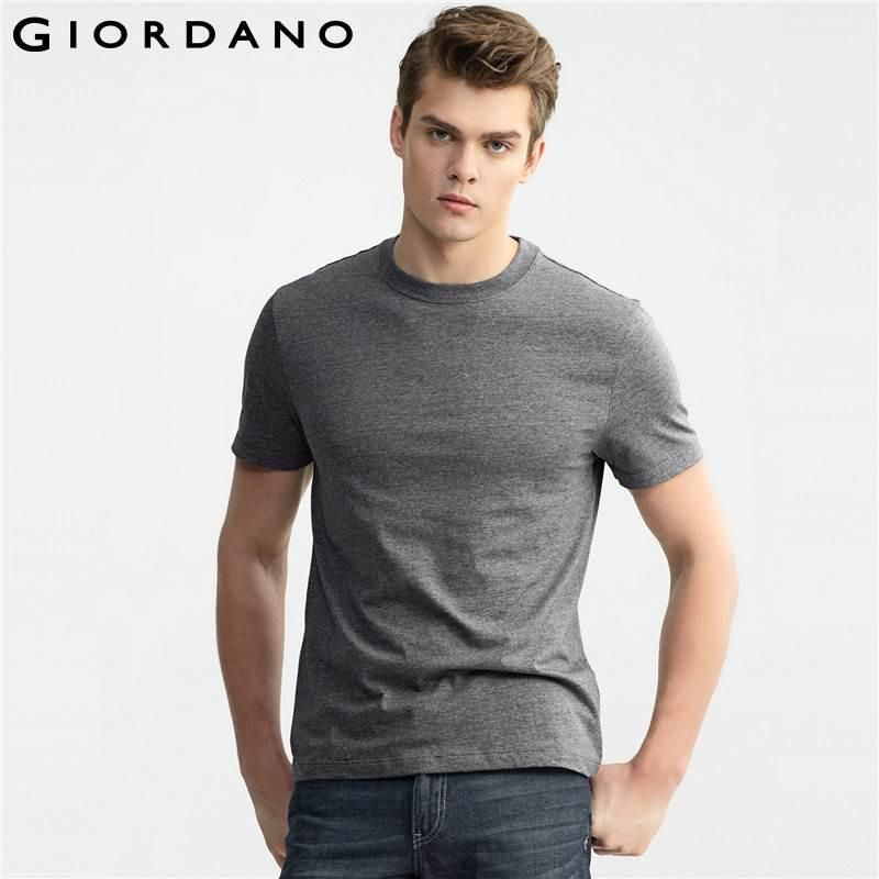 Men T-shirt Slim Fit Solid Cotton Carbon Crewneck Tee Shirts for Men Short Sleeves Tops Clothing