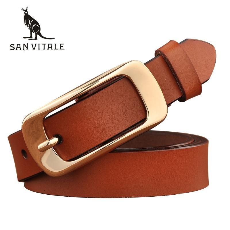 New Designer Women's Belts Fashion Genuine Leather Strap Female Waistband Pin Buckles Fancy Vintage for Jeans