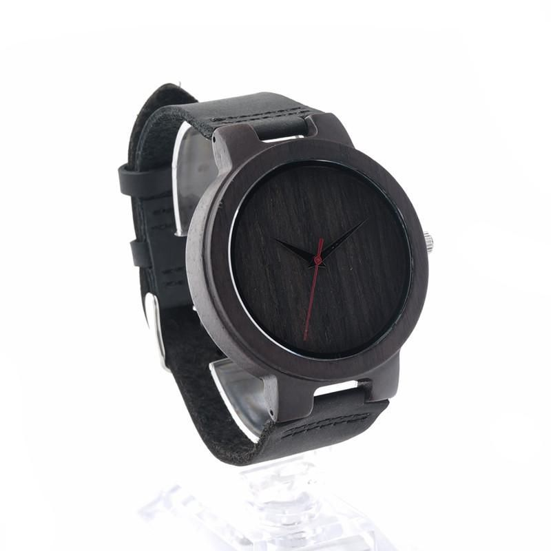 New Arrival Leather Wood Watch Men Movement Quartz Watches For Men Women With Bamboo Box