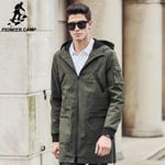 new trench coat men clothing Top Quality male long army green trench coat windbreaker jacket