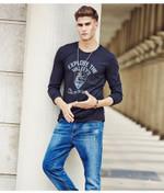 men T shirt fashion clothing Men's Long Sleeve T Shirt Cotton Elastic Casual T-Shirt Male O-Neck