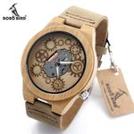 Special Bamboo Wood Watch Movement Outside With Genuine Cow Leather Band Quartz Analog Watch