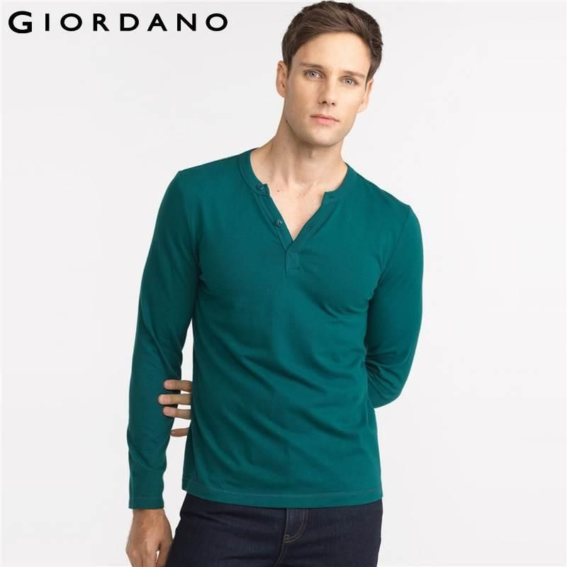 Men T-shirt Long Sleeves Soft Cotton Solid Casual Clothes Man Tees Famous