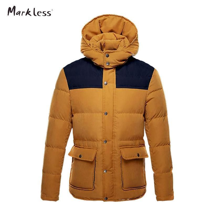 Men Thick Down Jackets Man Winter Hooded Collar Winter Coats Men's Casual Patchwork Down Male Outerwear Parkas