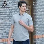 Fashion 100% Cotton Camisa Masculina Slim Chemise Homme Short Sleeve Colorful Dot Printed Men Shirt