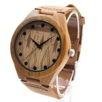 Men's Bamboo Wooden Watches With Genuine Cowhide Leather Band Luxury Wood Watches for Men Best Gifts Item