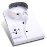 New Spring Men Dress Shirts Patchwork Plaid Neck Long Sleeve Formal Business Pure Color Men Casual Shirt Plus Size XXL