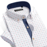 Summer New Fashion Men Short Sleeve Casual Shirt Fish Bones Printing Plus Size Floral Patchwork Men Dress Shirt