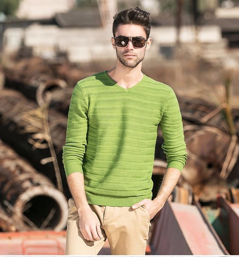 New arrival fashion spring autumn men sweater v-neck knitwear casual pullover slim fitness