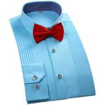 New Fashion Men Shirt Long Sleeve White Wedding Party Men Dress Shirt Formal Regular Fit Male Casual Shirts