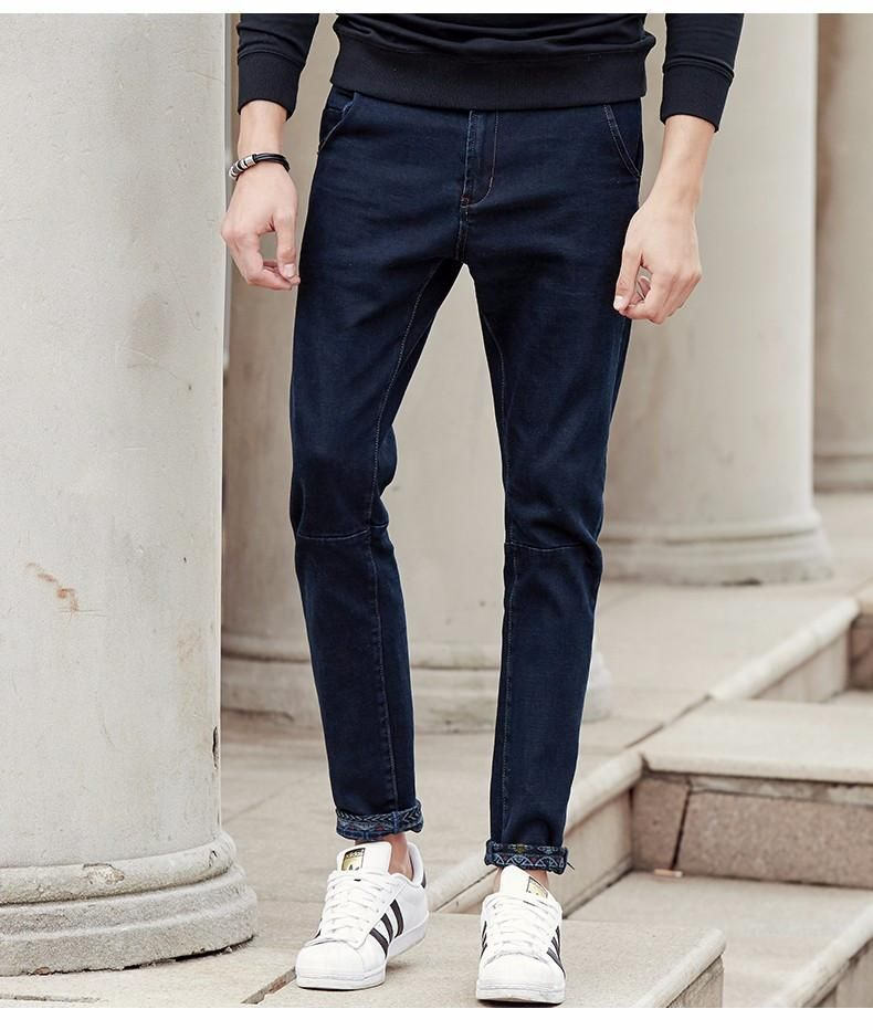 New dark blue thick jeans men clothing fashion male denim pants quality autumn winter denim trousers