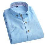 High Quality 75% Cotton Summer Men Short Sleeve Shirts Linen Collar Button-Up Patchwork Placket Men Casual Shirts