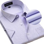 Summer New Men Short Sleeve Shirts Twill Fashion Solid Color Turn-down Collar Regular Fit Business Casual Mens Dress Shirt