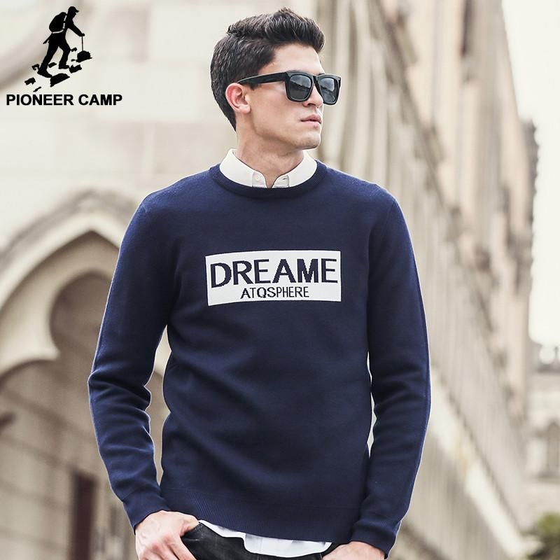 Fashion Sweaters men high Quality clothing Letter Jacquard casual Pullovers Christmas blue Sweater