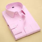 Spring New Men Pure Color Dress Shirt Long Sleeve Classic Fit Fashion Business Men Casual Shirts Blue Pink White