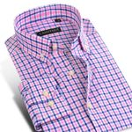 Men's Long-Sleeve Contrast Color Plaid Shirts Comfort Soft 100% Cotton Casual Slim-fit Button-Down Dress Shirt