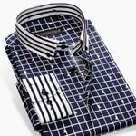 New Spring Fashion Men Casual Plaid Shirts Striped Button-Up Collar Long Sleeve Slim Fit Cotton Formal Men Dress Shirts