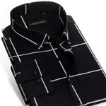 Summer Men's Long-Sleeve Big Check Plaid Button-Down Shirt Non-Iron 100% Cotton ComfortSoft Slim-fit Dress Shirt