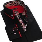 New Mens Dress Shirts Double Collar Printed Patchwork Slim Fit 100% Cotton High Quality Men Casual Business Shirt