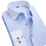 New Autumn Men Dress Shirt Fashion White Collar Twill Business Male Social Casual Shirt Formal Long Sleeve Plus Size XXL
