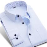 Spring New Men Printed Patchwork Collar Dress Shirt Long Sleeve Pocket Regular Fit Social Casual Business Office Men Shirt