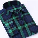 Spring Men Plaid Casual Shirts Cotton Brand Flannel Clothing Plus Size Square Collar Long Sleeve Slim Fit Dress Men Shirts