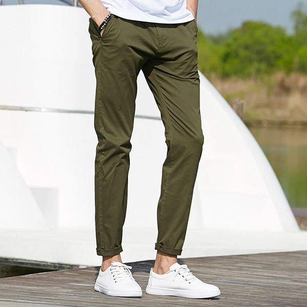 Casual pants men clothing High quality Spring Long Khaki Pants Elastic male Trousers for men