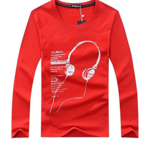 New Mens T Shirts Fashion Autumn Winter Style Cotton 3D Long line earphone t shirt M-6XL Black Blue Long Sleev