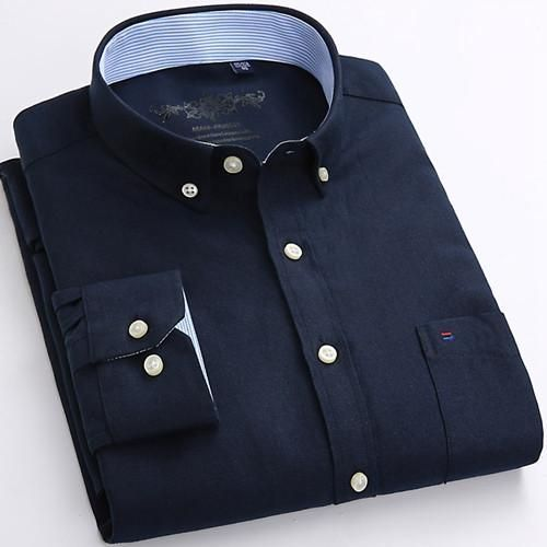 New Spring Men Casual Shirts Fashion Patchwork Collar Button-up Long Sleeve Solid Color High Quality Men Dress Shirt