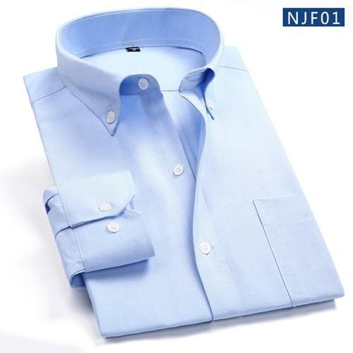 Spring New Men Dress Shirt Long Sleeve Fashion Business Pure Color Collar Button-up Formal Business Men Casual Shirt