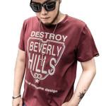 Summer new high-end men's cotton t-shirt fashion Leisure printing atmosphere t shirt Plus size Short sleeve XL