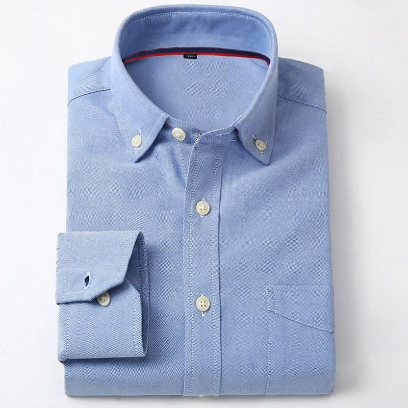 New Spring Men Oxford Casual Shirts Solid Long Sleeve Patchwork Collar Button-Up Clothes Social Business Men Dress Shirt