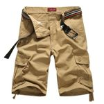New Fashion Design Men Casual Shorts Summer Multi-pocket Solid Color Short Trousers Cargo Shorts (Without Belt)