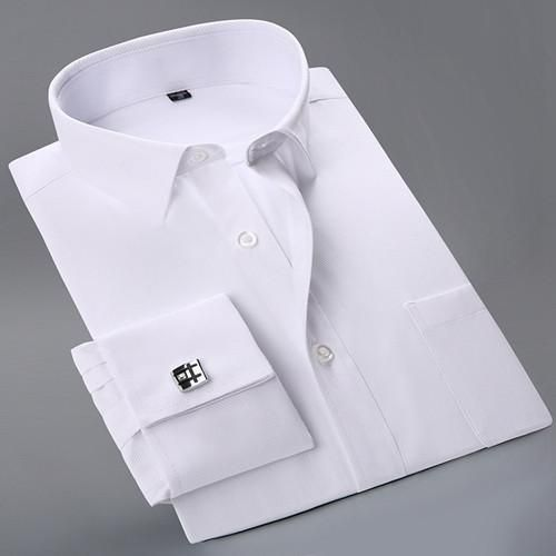 Spring New Men's Cuff Dress Shirt Solid Color Long Sleeve Patchwork Collar Regular Fit Business Men Casual Shirts