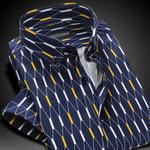 Summer Men's Contrast Argyle Plaid Short-sleeve Casual Shirts Cotton Comfort Soft Slim-fit Button-down Shirt