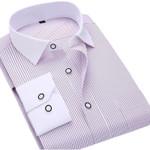 Spring New Men Stripe Dress Shirts Long Sleeve Turn-down Collar Regular Fit Men Office Business Casual Shirts Twill Fashion