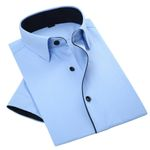 Summer New Men Short Sleeve Dress Shirts Black Stripes Splicing Pure Color Breathable Patchwork Men Casual Business Shirt
