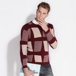 Plaid Long Sleeve O-Neck Slim Pullovers