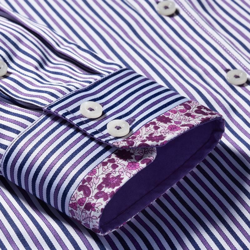 Slim Fit Purple Striped Button down Collar Casual Shirt Men Blouse Long Sleeve Fashion Male Shirt