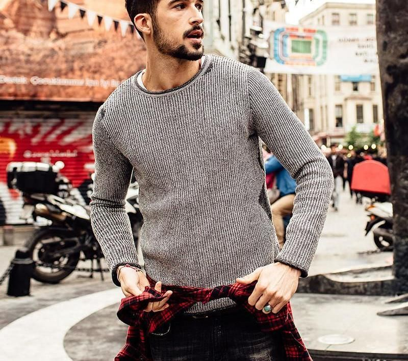 New Autumn Winter Casual Sweater Men Fashion Pullovers Knitted O-neck  fashion