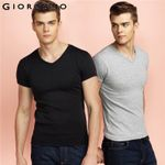 Men T-shirt Short Sleeves Tee V-neck Top Clothing Cotton Tee shirt Home Solid Color Tshirt