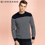 Men Sweaters Soft Cotton Knitwear Long Sleeves Stripes Pullover Clothing Fashion Home