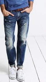 Men Jeans Fashion Straight Slim Zipper Hole Casual Denim Blue Men Pants High Quality