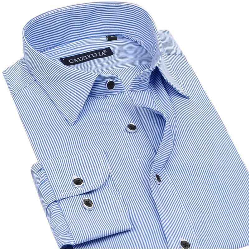 New Men Striped Dress Shirts 100% Cotton High Quality Slim Fit Formal Men Clothing Non-iron Business Casual Shirt