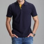 Clothing Home Solid Polo Shirt Casual Men Tee Shirt Tops Cotton Slim Fit